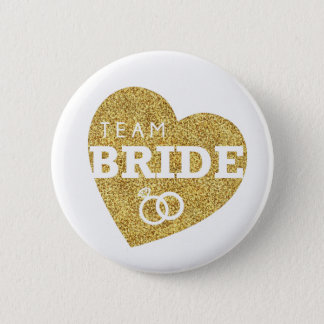 Bridal Shower Team Bride Gold Glitter Bachelorette 2 Inch Round Button