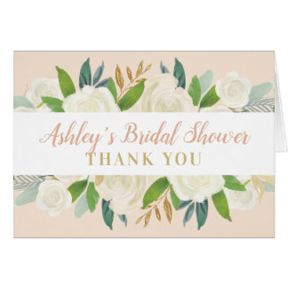 Bridal Shower Thank You   Blush Watercolor Blooms Card