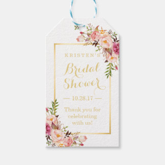 Bridal Shower Thank You Elegant Chic Flowers Pack Of Gift Tags