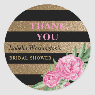 Bridal Shower Thank You | Gold Stripes & Flowers Round Sticker