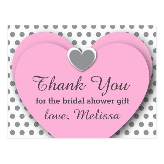 BRIDAL Shower Thank You Hearts Dots B07 PINK GRAY Postcard