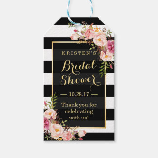 Bridal Shower Thank You Pink Floral Stripes Pack Of Gift Tags