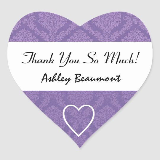 Bridal Shower Thank You Purple Damask V001H4 Heart Sticker