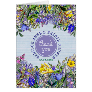 Bridal Shower Thank You Wildflowers Photo Floral Card