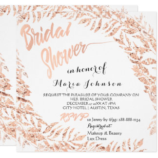 Bridal Shower Tropical Leafs Glitter Pink Rose Lux Card