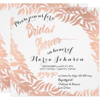 Bridal Shower Tropical Leafs Glitter Rose Gold Card