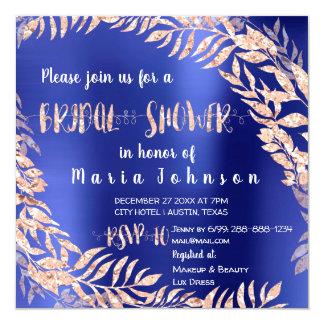 Bridal Shower Tropical Leafs Glitter Rose Indigo Card