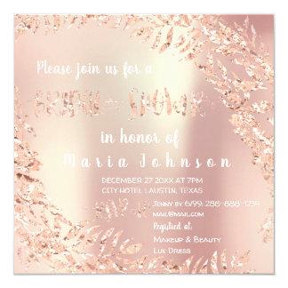 Bridal Shower Tropical Leafs Glitter Rose White 1 Card