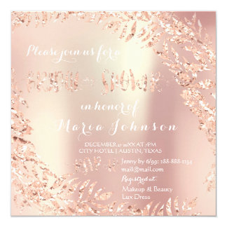 Bridal Shower Tropical Leafs Glitter Rose White Card