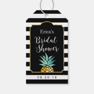 Bridal Shower Tropical Pineapple Modern Stripes Pack Of Gift Tags
