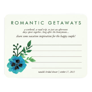 "Bridal Shower Vacation Ideas Card   Blue Floral 4.25"" X 5.5"" Invitation Card"