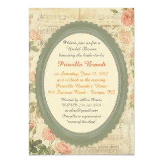 Bridal Shower,vintage roses on partition,framework Card