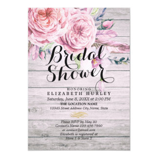 Bridal Shower Watercolor Boho Floral Rustic Wood Card
