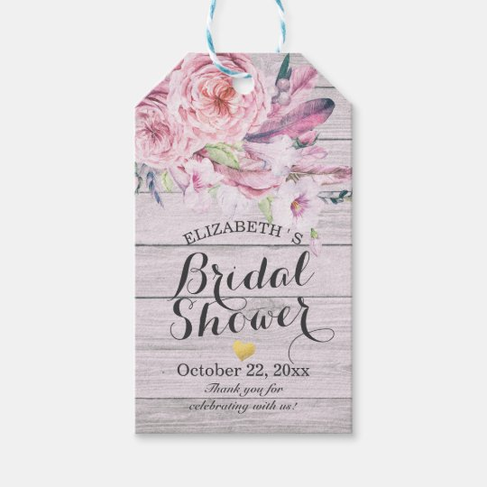 Bridal Shower Watercolor Boho Floral Rustic Wood Gift Tags