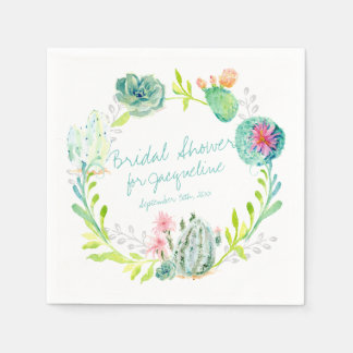 Bridal Shower Watercolor Cactus Succulent Desert Paper Napkin