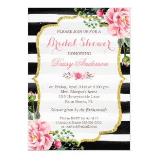 """Bridal Shower Watercolor Floral Gold Glitter Decor 5"""" X 7"""" Invitation Card"""