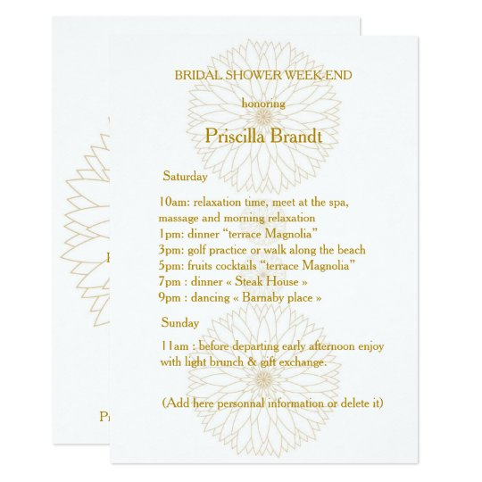 Bridal Shower Week-end, Monet's Dahlia suite,white Card