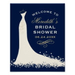 Bridal Shower Welcome | Elegant Wedding Gown Poster