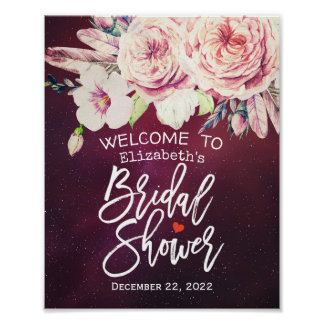 Bridal Shower Welcome Floral Feathers Burgundy Red Poster