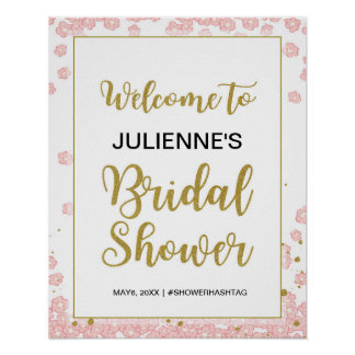 Bridal Shower Welcome   Pink and Gold Glitter Poster