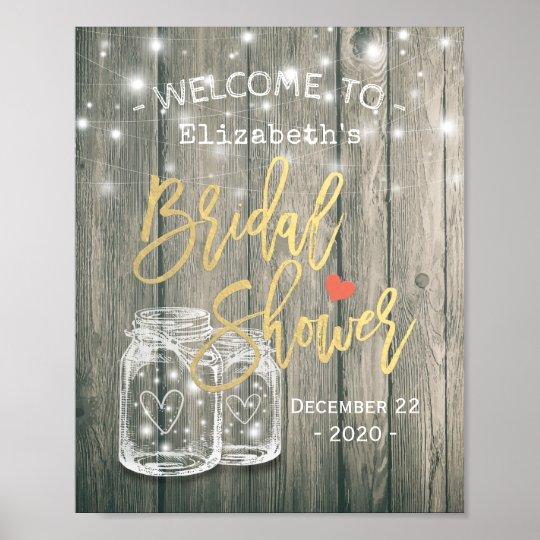 Bridal Shower Welcome Rustic Wood Mason Jar Lights Poster