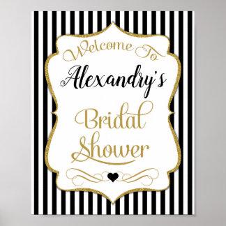 Bridal Shower Welcome Sign Black Gold Elegant