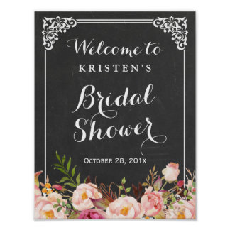 Bridal Shower Welcome Sign Chalkboard Frame Flower Poster