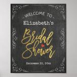 Bridal Shower Welcome Sign Gold Script Chalkboard