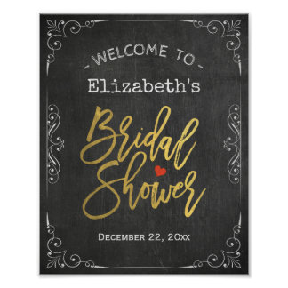 Bridal Shower Welcome Sign Gold Script Chalkboard