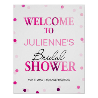 Bridal Shower Welcome Sign | Magenta Confetti Poster
