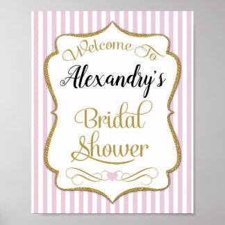 Bridal Shower Welcome Sign Pink Gold Elegant