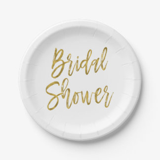Bridal Shower White and Gold Foil Paper Plates