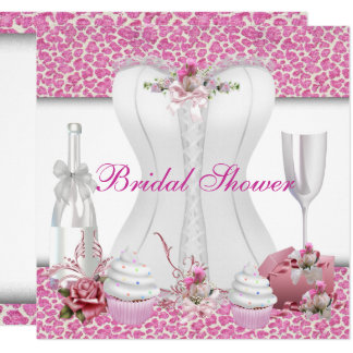 Bridal Shower White Pink Cupcakes Champagne Card