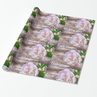 Bridal Shower White Rose Wrapping Paper