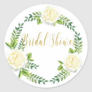 Bridal shower - White Roses Classic Round Sticker