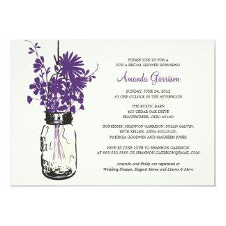 "Bridal Shower Wildflowers & Mason Jar 5"" X 7"" Invitation Card"