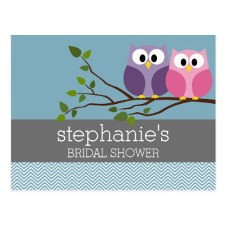 Bridal Shower with Owl Couple on Branch Postcard