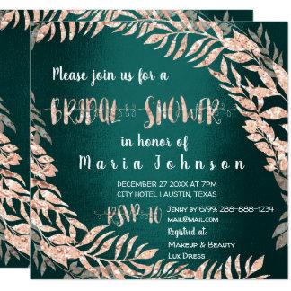 Bridal Shower Wreath Glitter Rose Gold Cali Green Card