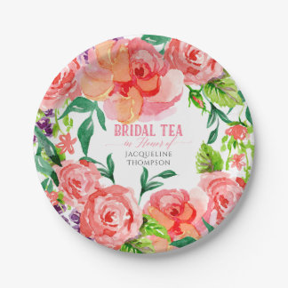Bridal Tea Modern Floral Hot Pink Peach Coral Rose Paper Plate