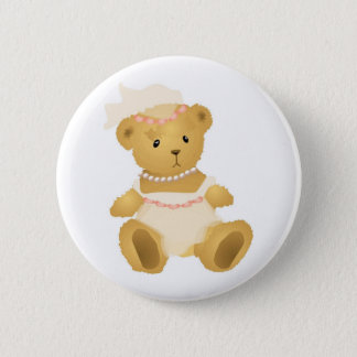 Bridal Teddy Bear 2 Inch Round Button