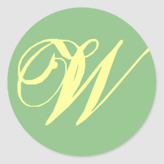 Bridal Wedding Monogram Letter W - Customize Classic Round Sticker