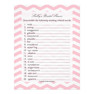 Bridal Wedding Shower Word Scramble Game Customized Letterhead