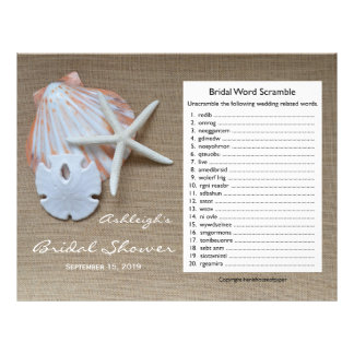 Bridal Wedding Shower Word Scramble Game Personalized Letterhead