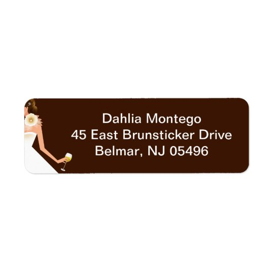 Bridal Wine Invitation (Brunette on brown w/white) Return Address Label