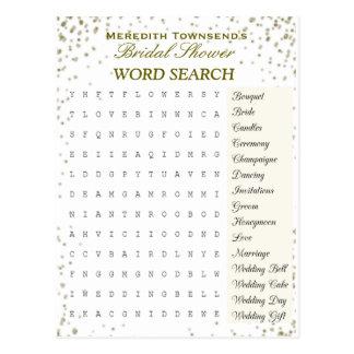 Bridal Word Search   Gold Confetti Postcard
