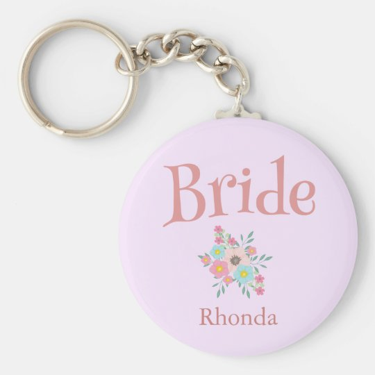 Bride and Beauty Bouquet of Flowers Keychain