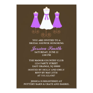"""Bride and Bridal Party Gowns Wedding Shower 5"""" X 7"""" Invitation Card"""