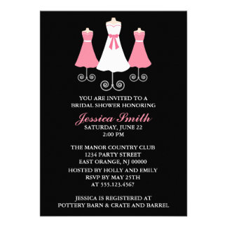 Bride and Bridal Party Gowns Wedding Shower Personalized Invitations