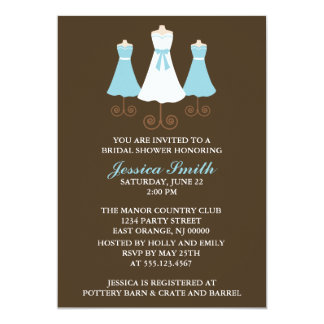 Bride and Bridal Party Gowns Wedding Shower 5x7 Paper Invitation Card
