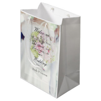 Bride and Flower Bouquet Wedding Medium Gift Bag